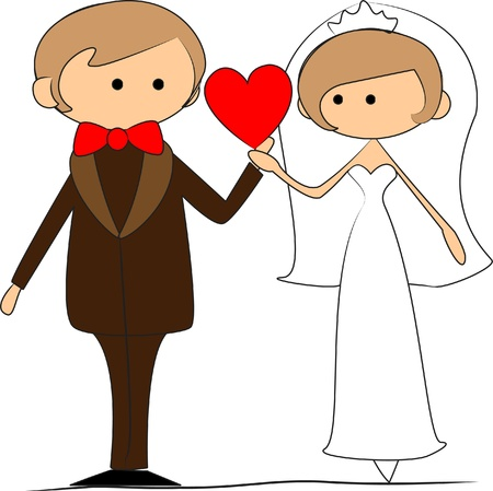 wedding picture, bride and groom in love Stock Vector - 11325516