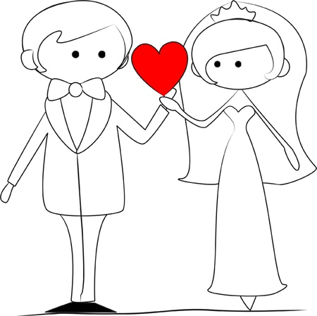 wedding picture, bride and groom in love Stock Vector - 11325514