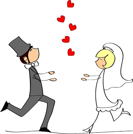 marriage cartoon: wedding picture, bride and groom in love  Illustration