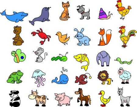 cognition: set of icons of animals