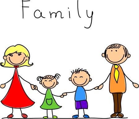 papa: famille heureuse tenant par la main et souriant Illustration