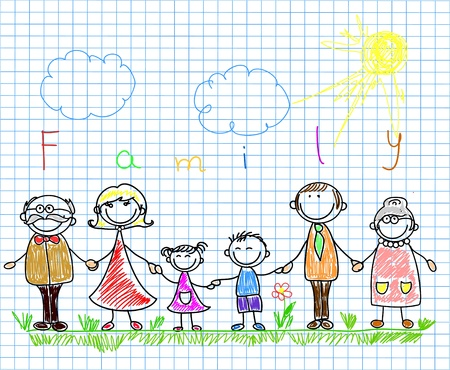 brother and sister cartoon: happy family holding hands and smiling  Illustration