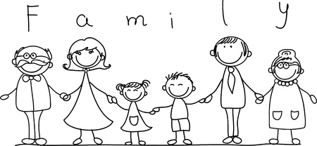 family isolated: happy family holding hands and smiling  Illustration
