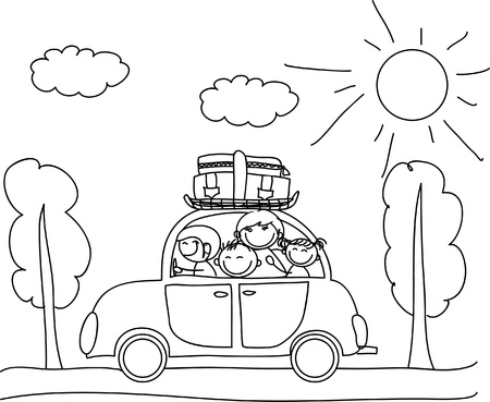 black family: happy family going on holiday by car