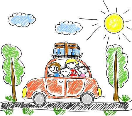 travel luggage: happy family going on holiday by car