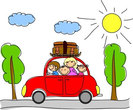 famille heureuse de partir en vacances en voiture