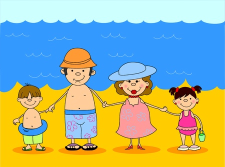 swimming costumes: happy family holding hands in bathing suits at sea