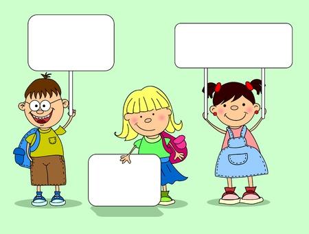 cute children holding banners  Иллюстрация