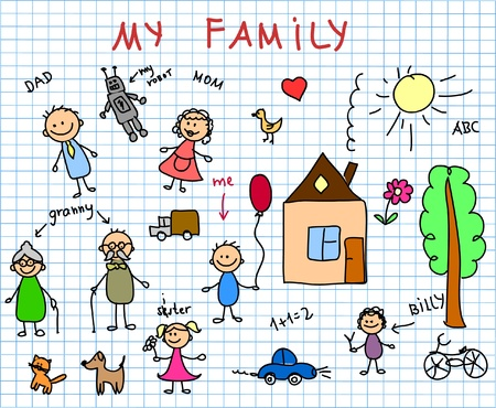 black family smiling: Childrens drawings
