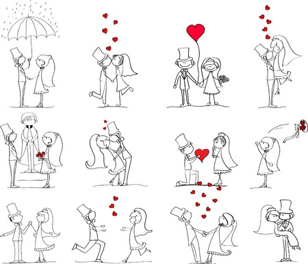 cartoon wedding couple: set of wedding pictures, bride and groom in love