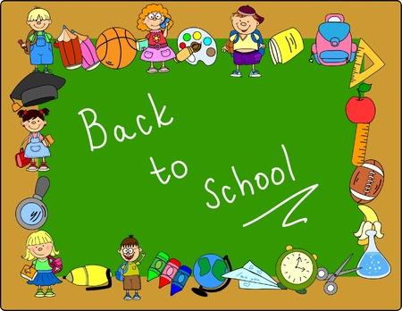 teaching children: cute schoolboys and schoolgirls, School elements