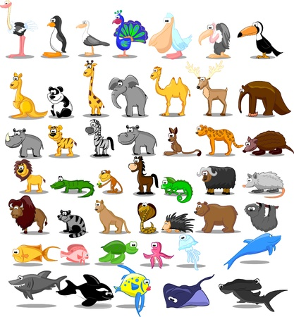 Extra large set of animals including lion Vector
