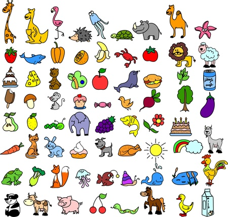 childrens food: set of childrens icons of food and animal  Illustration