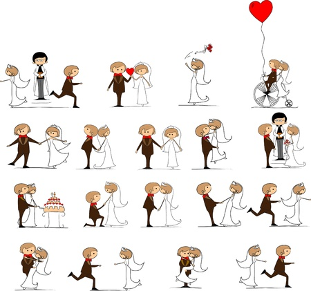 cartoon wedding: set of wedding pictures, bride and groom in love