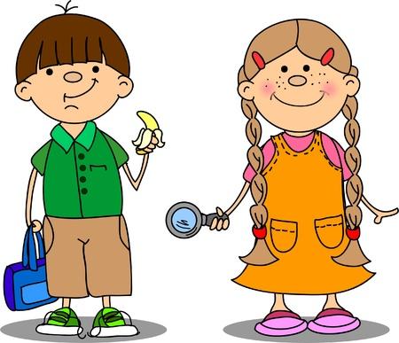 cute schoolboys and schoolgirls  Illustration