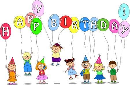children hold balloons, greeting card, vector