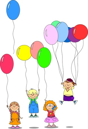 children hold balloons, greeting card, vector Stock Vector - 11325460