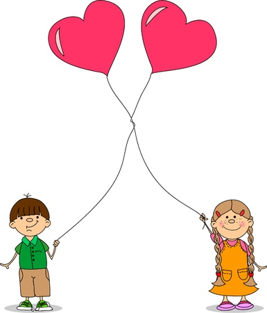 girl and boy holding a balloon heart  Vector