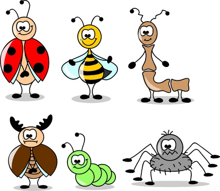 cartoon set of different insects  Vector