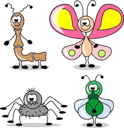 hormiga hoja: dibujos animados conjunto de diferentes insectos