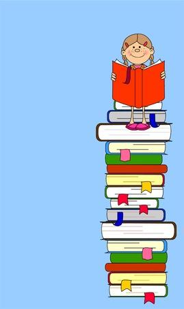 libro caricatura: Una ilustraci�n vectorial de los estudiantes y los libros