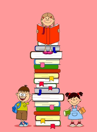 A vector illustration of students and books  Vector
