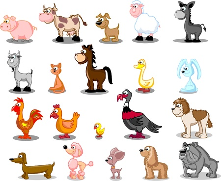 superlarge cartoon set pets  Vector
