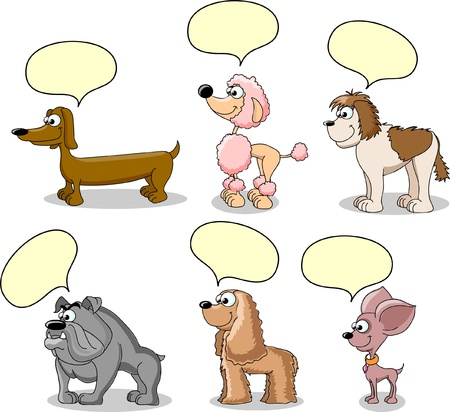 cartoon chihuahua: set cartoon dogs of different breeds  Illustration
