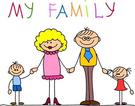 black family smiling: happy family holding hands and smiling  Illustration