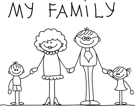 brother: happy family holding hands and smiling  Illustration