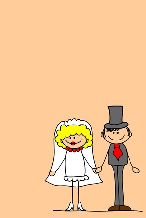 wedding picture, bride and groom in love, the vector  Vector