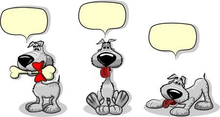 hueso de perro: Perros lindos dibujos animados y una burbuja de habla