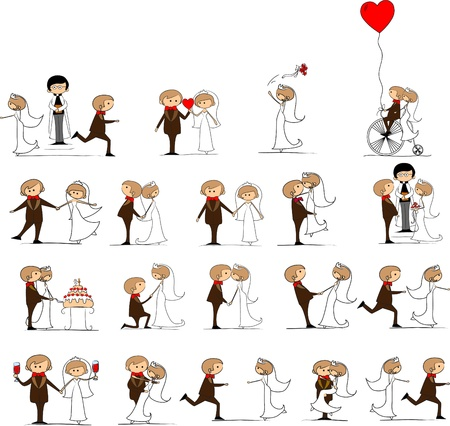 set of wedding pictures, bride and groom in love Vector