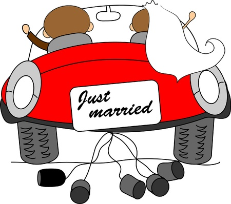 marriage cartoon: wedding picture, bride and groom in love