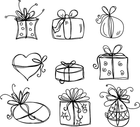 gift wrapping: Sketches gift packages
