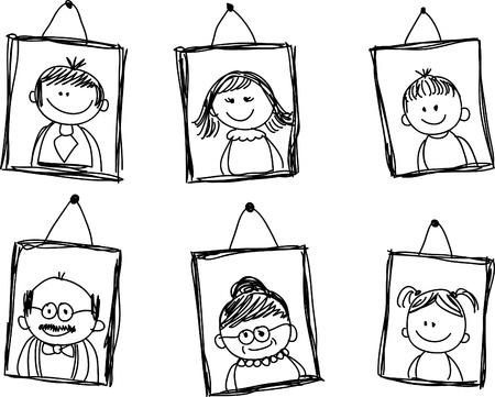 esbozos de los miembros de la familia en el marco Ilustración de vector