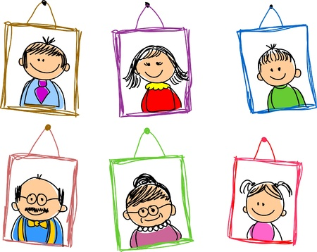 testvérek: doodle vázlatok családtagok