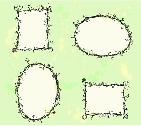 flower boxes: Floral doodle frames  Illustration
