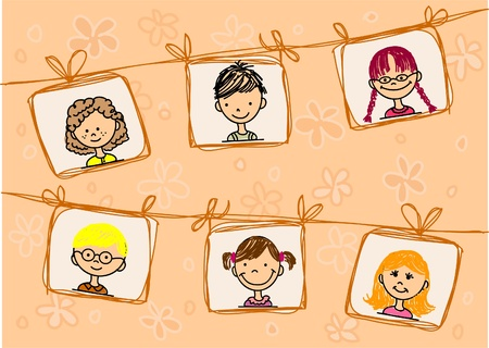 head icon: Sketches of smiling children   Illustration