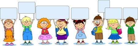 zaino: studenti cute tenere un banner