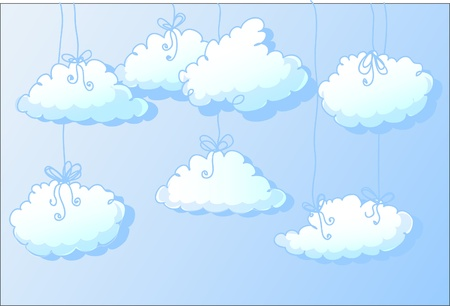 vector clouds hanging on a ribbon  Vector