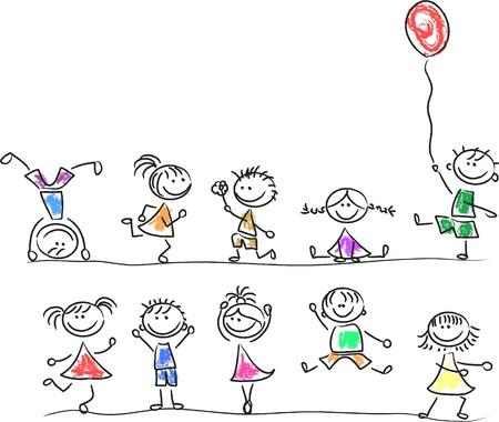 dessin enfants: Mignons enfants heureux