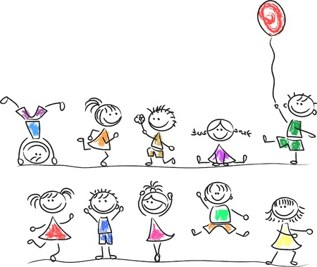 sch�ler: Nette gl�ckliche Kinder Illustration