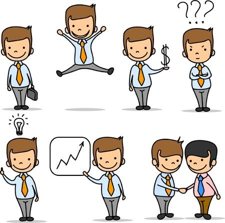 set van grappige cartoon kantoor werknemer Stock Illustratie