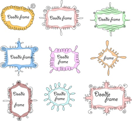 cute text box: Floral doodle frames  Illustration