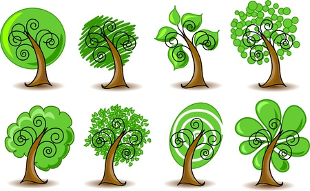 rowan tree: Set abstracts vector trees  Illustration