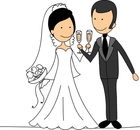 bride groom: The happy couple - the bride and groom  Illustration