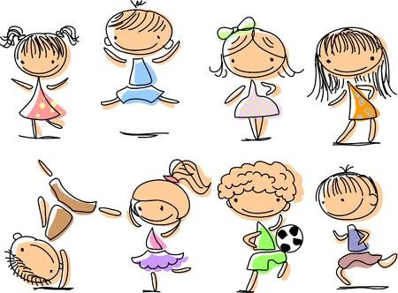 happy cartoon kids Vector