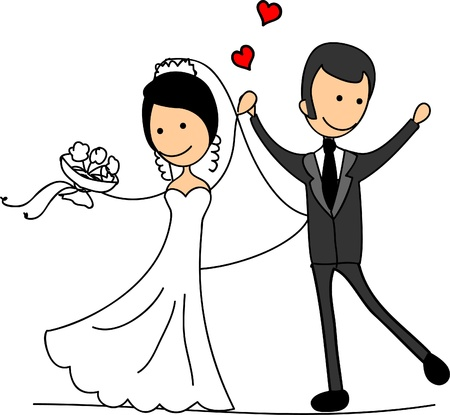 Sweethearts and happy bride and groom Vector