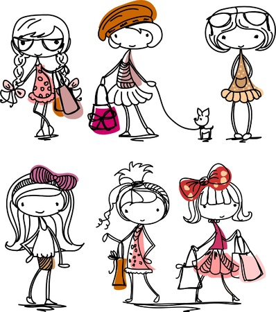 Cartoon fashionable girls  Vector
